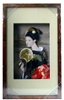 Japanese Geisha Frame Black Kimono and Fan (Rectangular Frame)