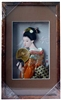 Japanese Geisha Frame Orange Kimono with Fan (Rectangular Frame)