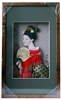 Japanese Geisha Frame Red Kimono and Fan (Rectangular Frame)