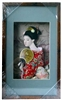 Japanese Geisha Frame Red Flower Kimono and Fan (Rectangular Frame)