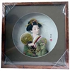 Japanese Geisha Frame Green Kimono and Fan (Square w/ Circle Window)