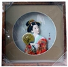 Japanese Geisha Frame Orange Kimono with Fan (SC16)
