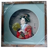 Japanese Geisha Frame Red Kimono with Fan (Square w/ Circle Window)