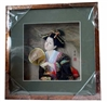 Japanese Geisha Frame Black Kimono and Fan (Square w/ Squared Window)
