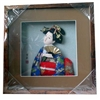Japanese Geisha Frame Blue Kimono and Fan (Square w/ Squared Window)