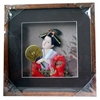 Japanese Geisha Frame Red Kimono and Fan (Square w/ Squared Window)